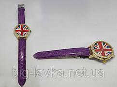 Модные женские часы Британский флаг  Фиолетовый
