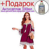 Летние платье с кисточками Shein Красный