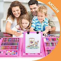 Детский набор для рисования 208 предметов с мольбертом в удобном кейсе