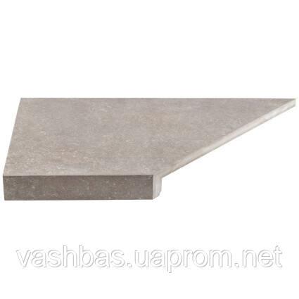 Aquaviva Угловой элемент бортовой плитки Aquaviva Montagna Gray Г-образный, 595x345x50(20) левая/45°