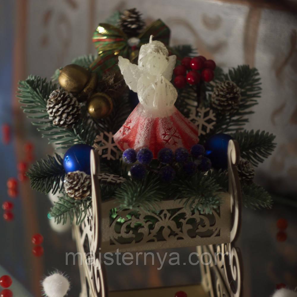 """Новорічна екібана """"Санчата"""" із свічкою-ангелом SH051"""