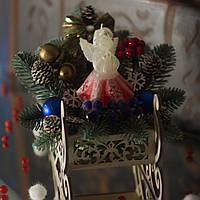 """Новорічна екібана """"Санчата"""" із свічкою-ангелом SH051, фото 1"""
