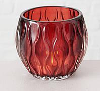 Подсвечник Элиза красное стекло h8.5см d10см Гранд Презент 1007346-2 волна