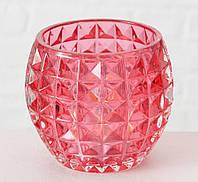 Подсвечник Элиза красное стекло h8.5см d10см Гранд Презент 1007346-3 ромб
