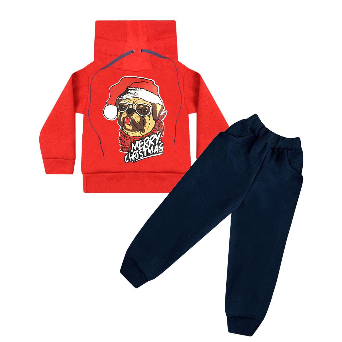Детский новогодний костюм для мальчика Рождественский Мопс трехнитка