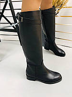 Сапоги женские черные из натуральной кожи на низком ходу, фото 1