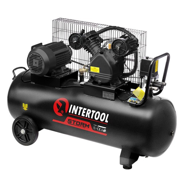 Компрессор 100 л, 3 кВт, 380 В, 8 атм, 500 л/мин, 2 цилиндра INTERTOOL PT-0013