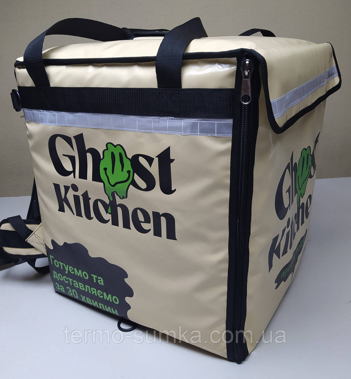 Каркасна термосумка - рюкзак для Dolphin кур'єрської доставки їжі і піци, на паралельних блискавках.