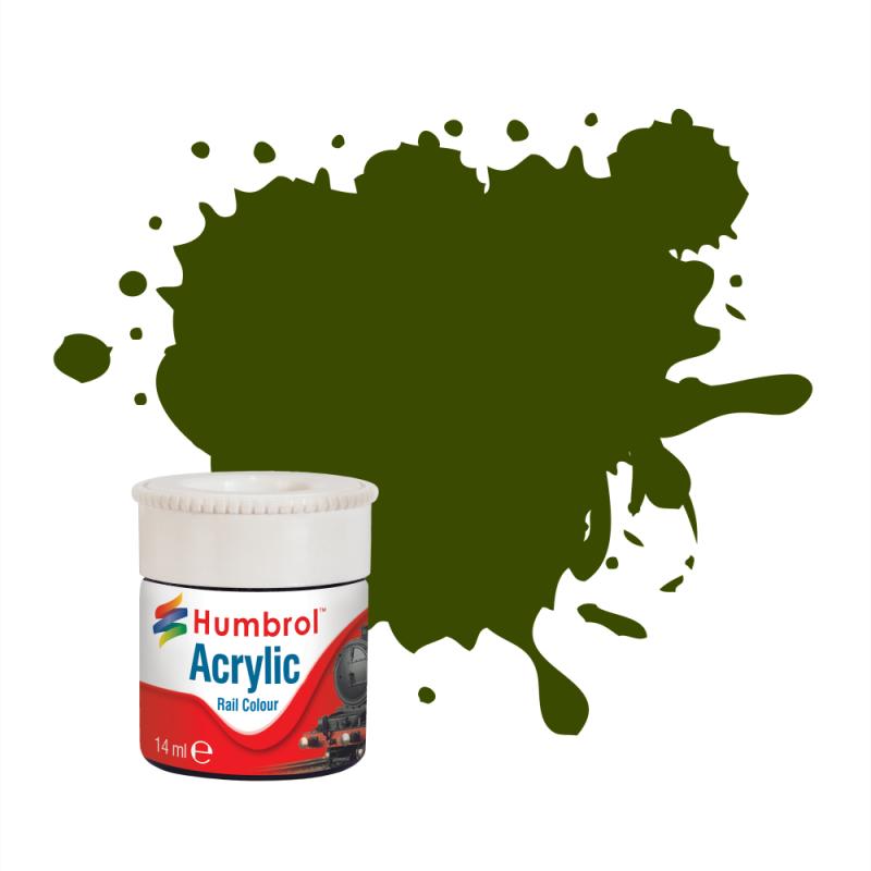 Зеленый оливковый матовый. Краска водорастворимая акриловая 14 мл. HUMBROL 410