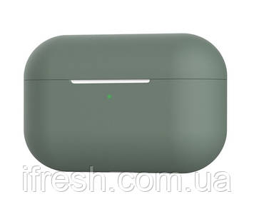 Чехол силиконовый для наушников Apple Airpods Pro, силикон, разные цвета Темно-зеленый