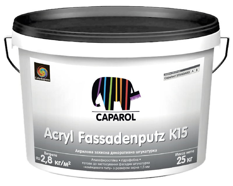 """Штукатурка акриловая CAPATECT STANDART ACRYL FASSADENPUTZ K15 """"барашек"""" белая 25кг"""