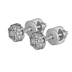Серьги-пуссеты Twiddle jewelry с кубическим цирконием (С039)