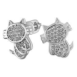 Серьги-пуссеты Twiddle jewelry с кубическим цирконием (С062)