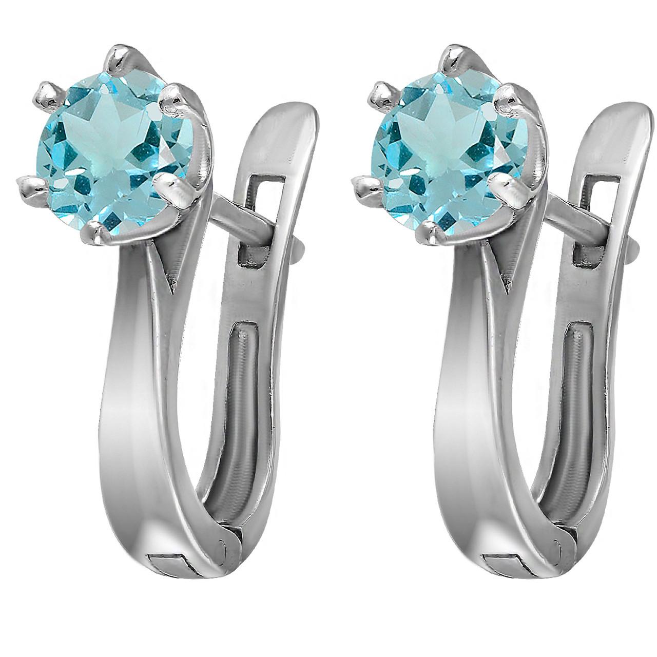 Серьги из серебра с голубым кубическим цирконием Twiddle Jewelry (С028г)