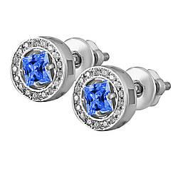 Серьги из серебра с синим и белыми кубическими циркониями Twiddle Jewelry (С037с)