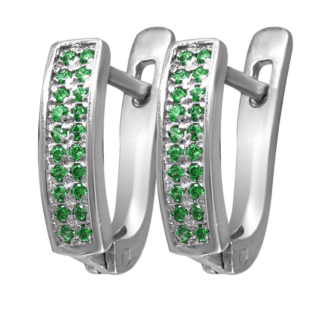 Серьги из серебра с зелёными кубическими циркониями Twiddle Jewelry (С035з)