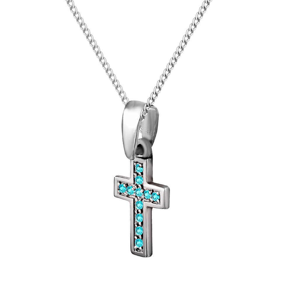 Кулон из серебра с кубическими циркониями Twiddle Jewelry Голубой (П096г)