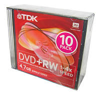 Диск DVD+RW TDK 4.7 Gb 4x Slim 10 pack