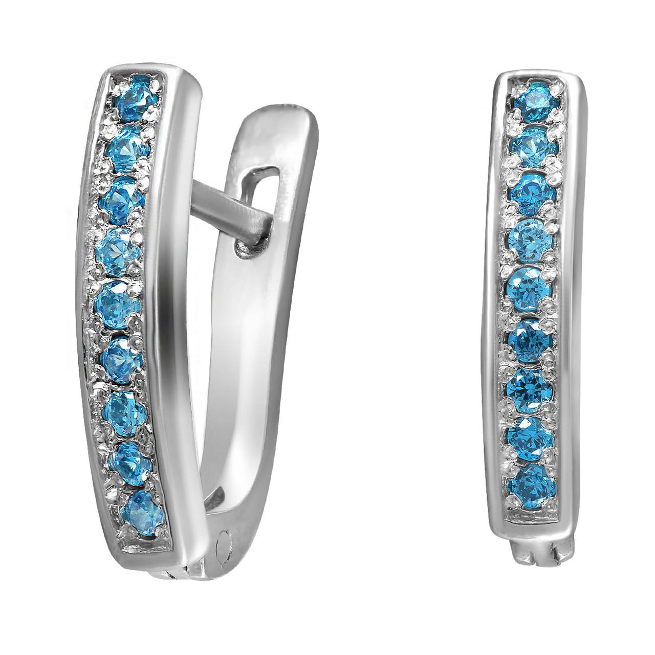 Серьги из серебра с куб. циркониями Twiddle Jewelry Голубые (С034г)