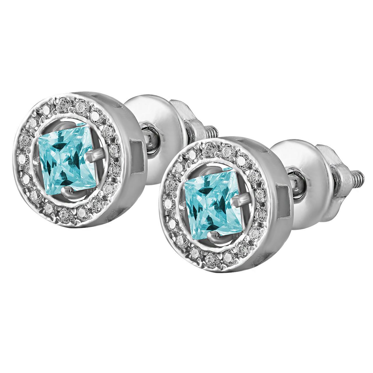 Серьги из серебра с кубическим циркониями Twiddle Jewelry Голубой с белым (С037г)