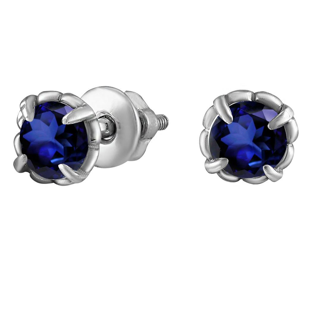 Серьги из серебра с кубическим цирконием Twiddle Jewelry Синие (С042с)