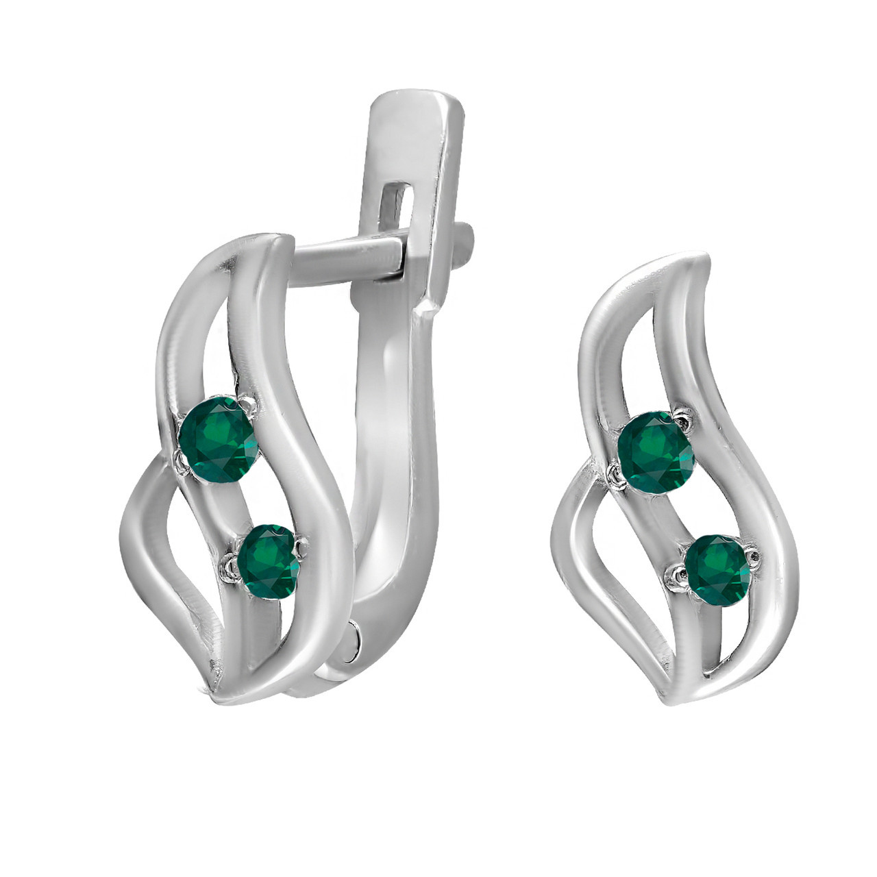 Серьги из серебра с кубическими циркониями Twiddle Jewelry Зеленые (С021з)