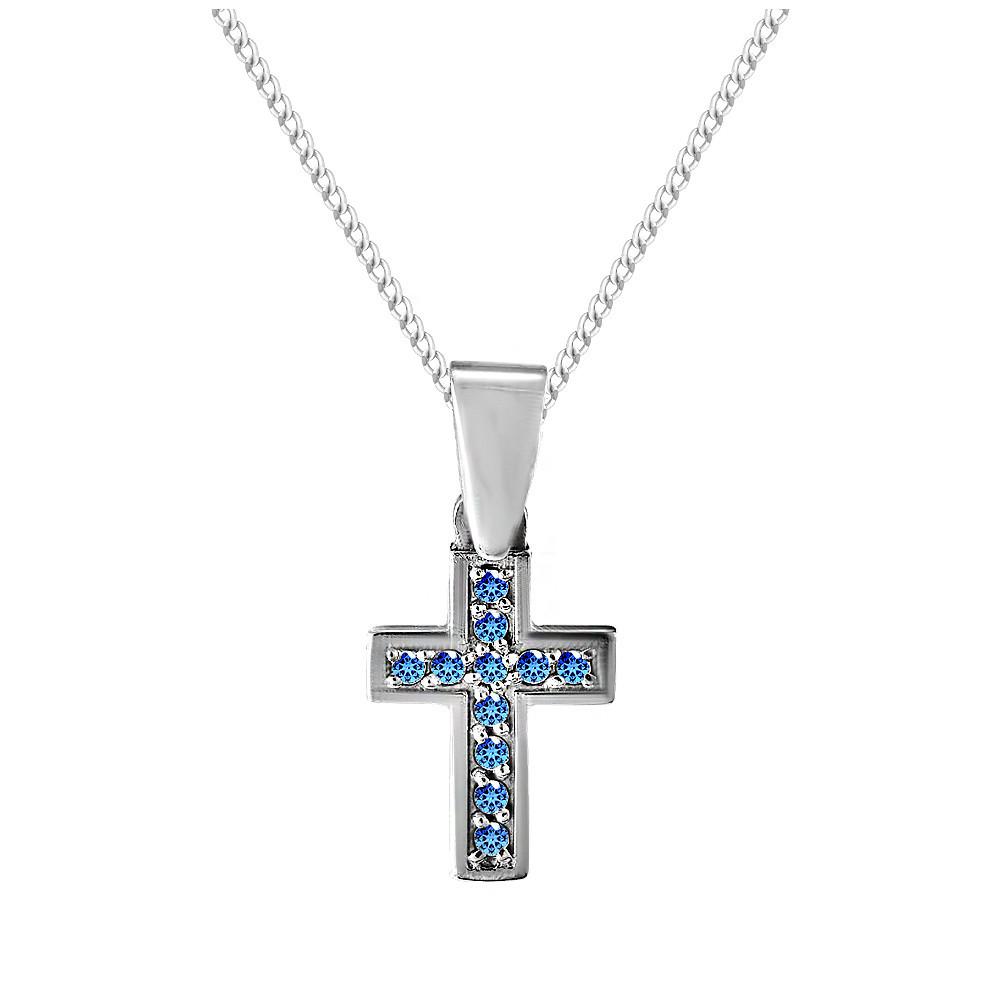 Кулон из серебра с кубическими циркониями Twiddle Jewelry Синий (П096с)