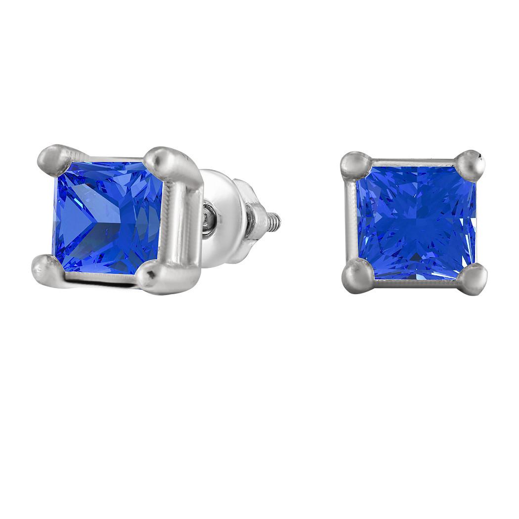 Серьги из серебра с кубическим цирконием Twiddle Jewelry Синие (С012с)