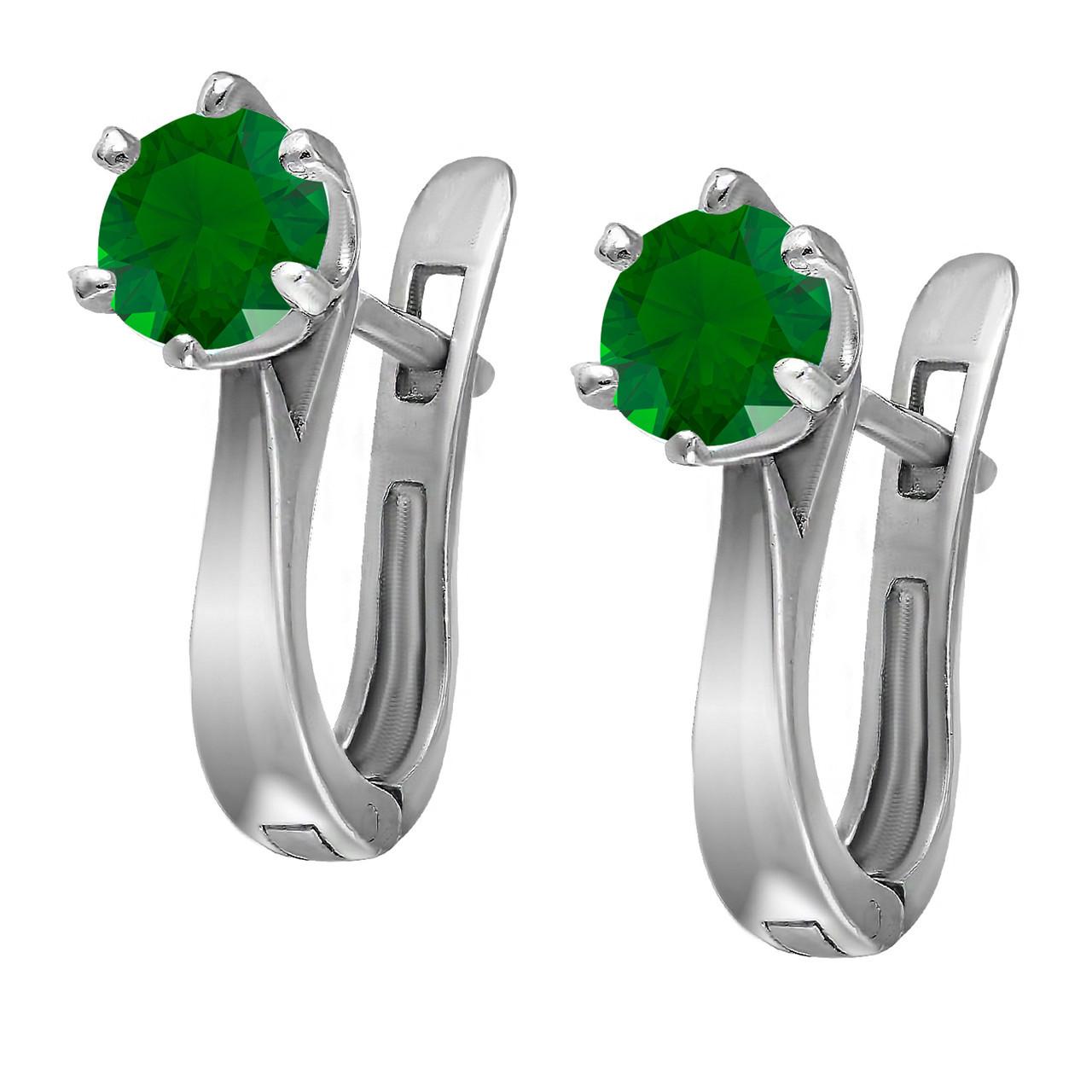 Серьги из серебра с кубическим цирконием Twiddle Jewelry Зеленый (С028з)