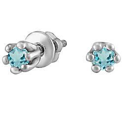 Серьги из серебра с цирконием голубой Twiddle Jewelry (С041г)