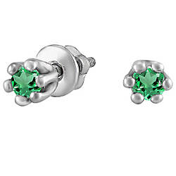 Серьги из серебра с цирконием зеленый Twiddle Jewelry (С041з)