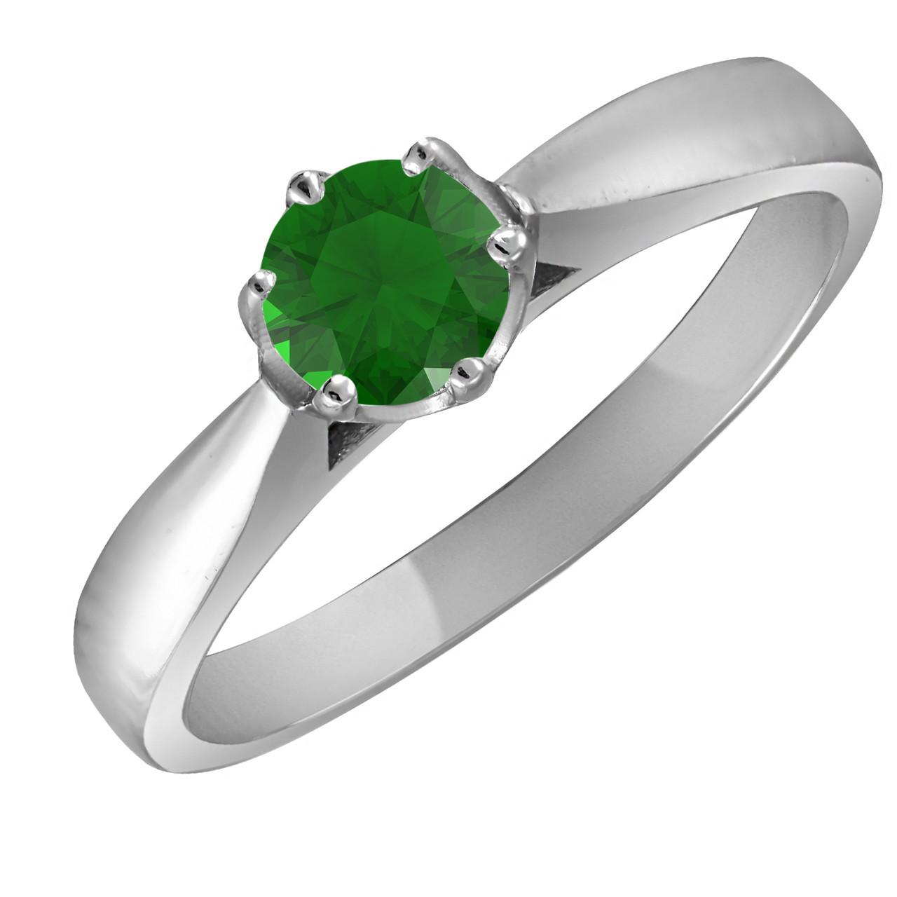 Кольцо из серебра с зелёным цирконием Twiddle Jewelry 16.0 (К015з-16.0)