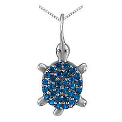 Кулон из серебра с кубическими циркониями Twiddle Jewelry Синий (П118с)