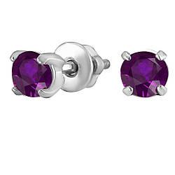 Серьги из серебра с кубическим цирконием Twiddle Jewelry Фиолетовый (С017ф)