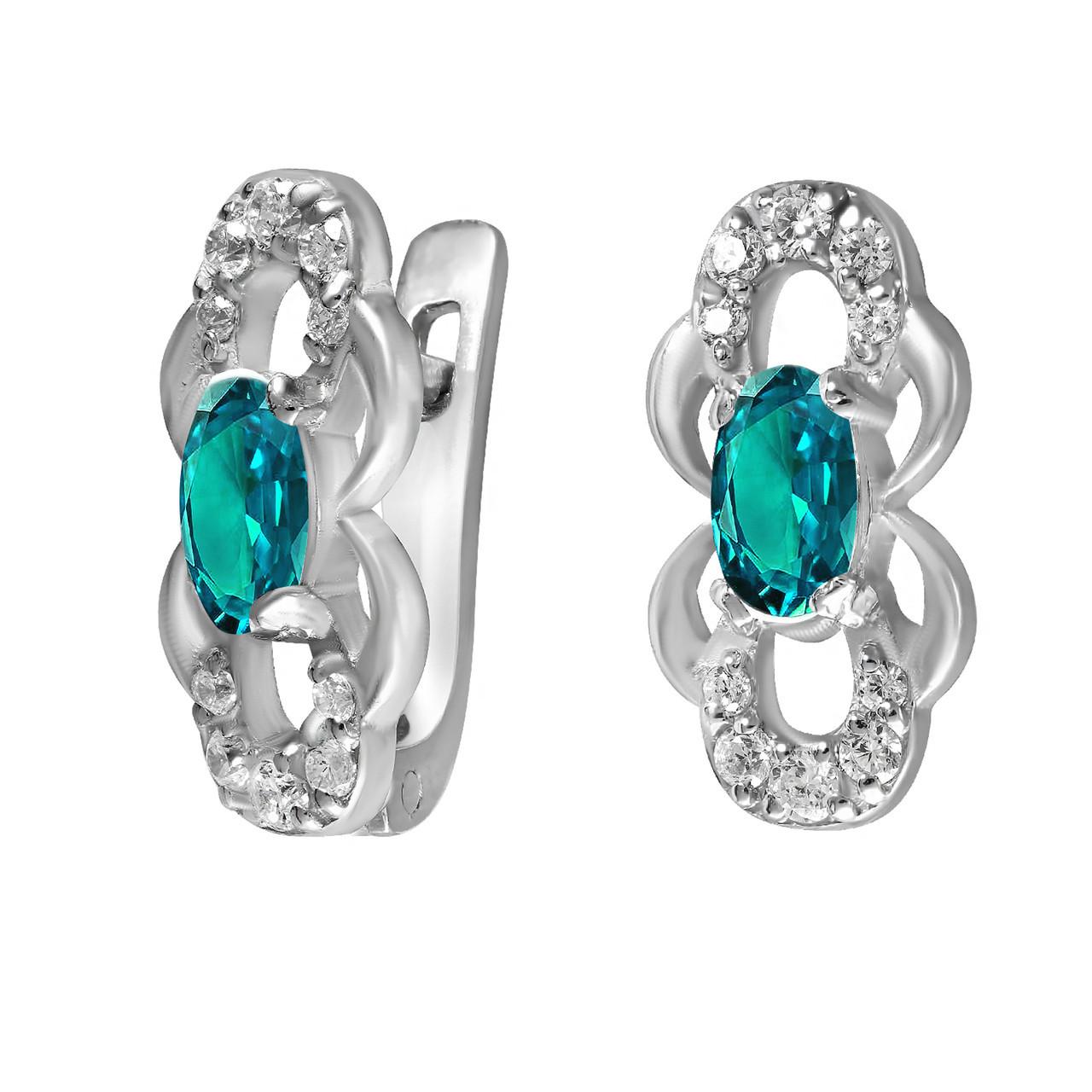 Детские серьги из серебра с куб. циркониями Twiddle Jewelry Бело-голубой (С030г)