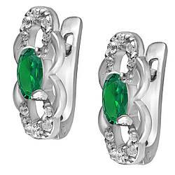 Детские серьги из серебра с куб. циркониями Twiddle Jewelry Бело-зеленый (С030з)