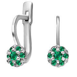 Детские серьги из серебра с кубическим цирконием Twiddle Jewelry Зеленый (С004з)