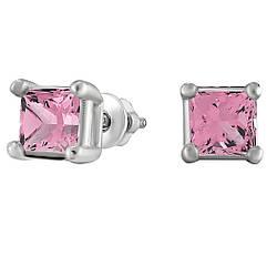 Серьги из серебра с кубическим цирконием Twiddle Jewelry Розовый (С012р)
