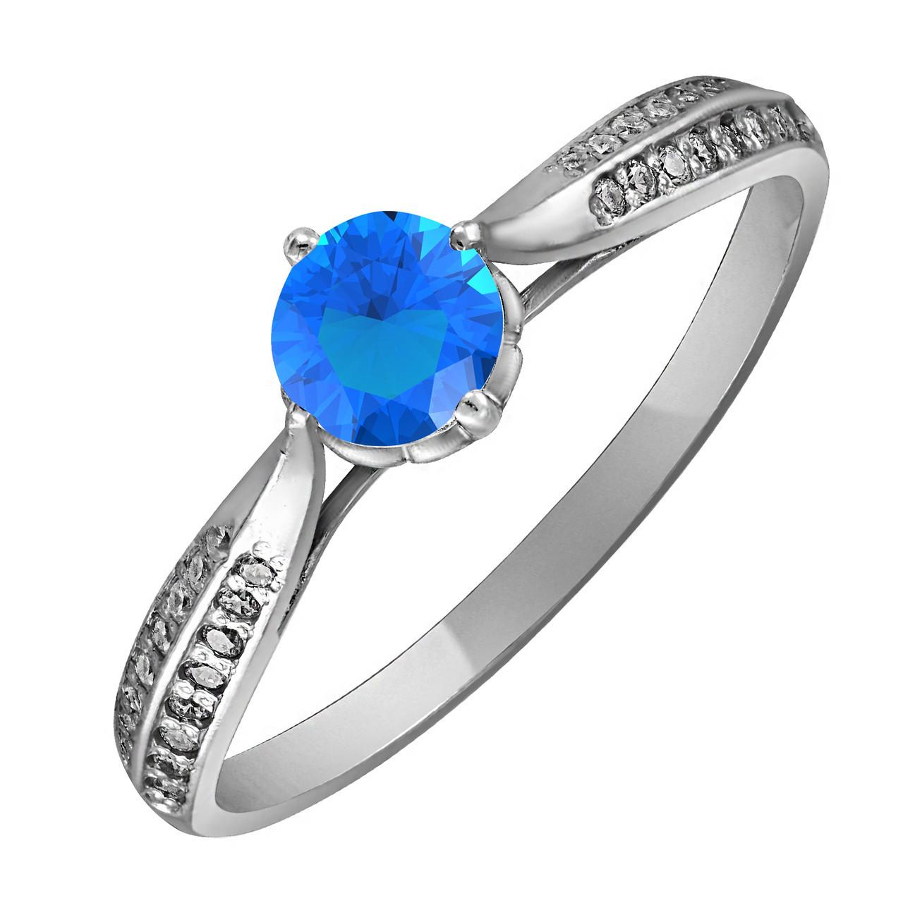 Кольцо из серебра с голубым цирконием Twiddle Jewelry 17.0 (К007г-17.0)