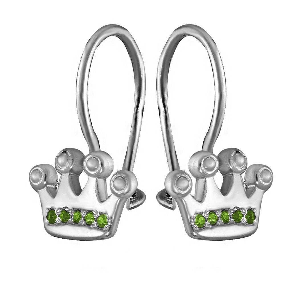 Детские серебряные серьги с кубическим цирконием Twiddle Jewelry (С053з)