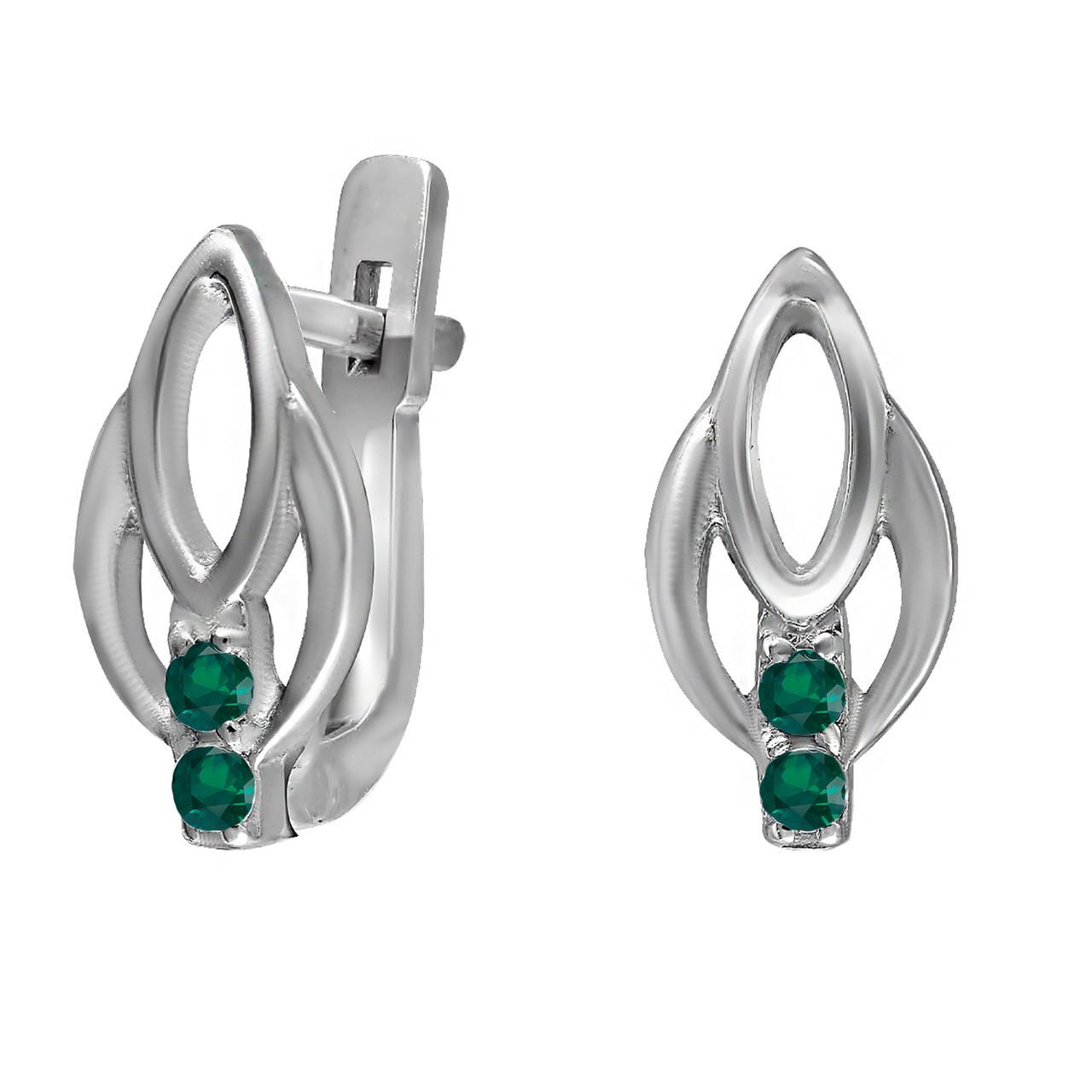Серьги из серебра с кубическим цирконием Twiddle Jewelry Зеленый (С025з)