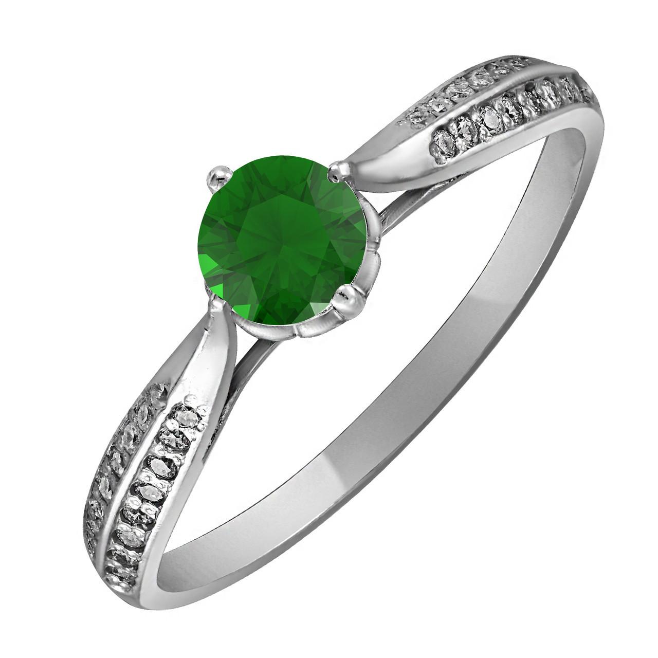 Кольцо из серебра с зелёным кубическим цирконием Twiddle Jewelry 17.5 размер (К007з-17.5)