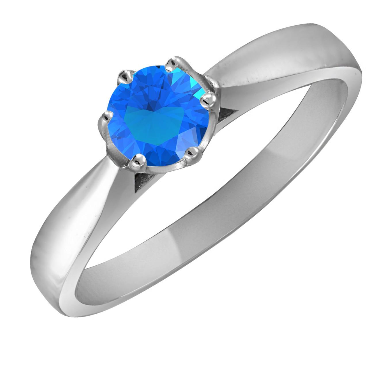 Кольцо из серебра с голубым кубическим цирконием Twiddle Jewelry 19.5 размер (К015г-19.5)