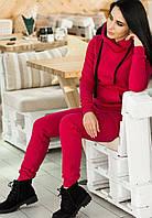 Спортивный костюм женский на флисе утепленный цвет красный