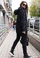 Спортивный костюм женский на флисе утепленный оверсайз цвет черный