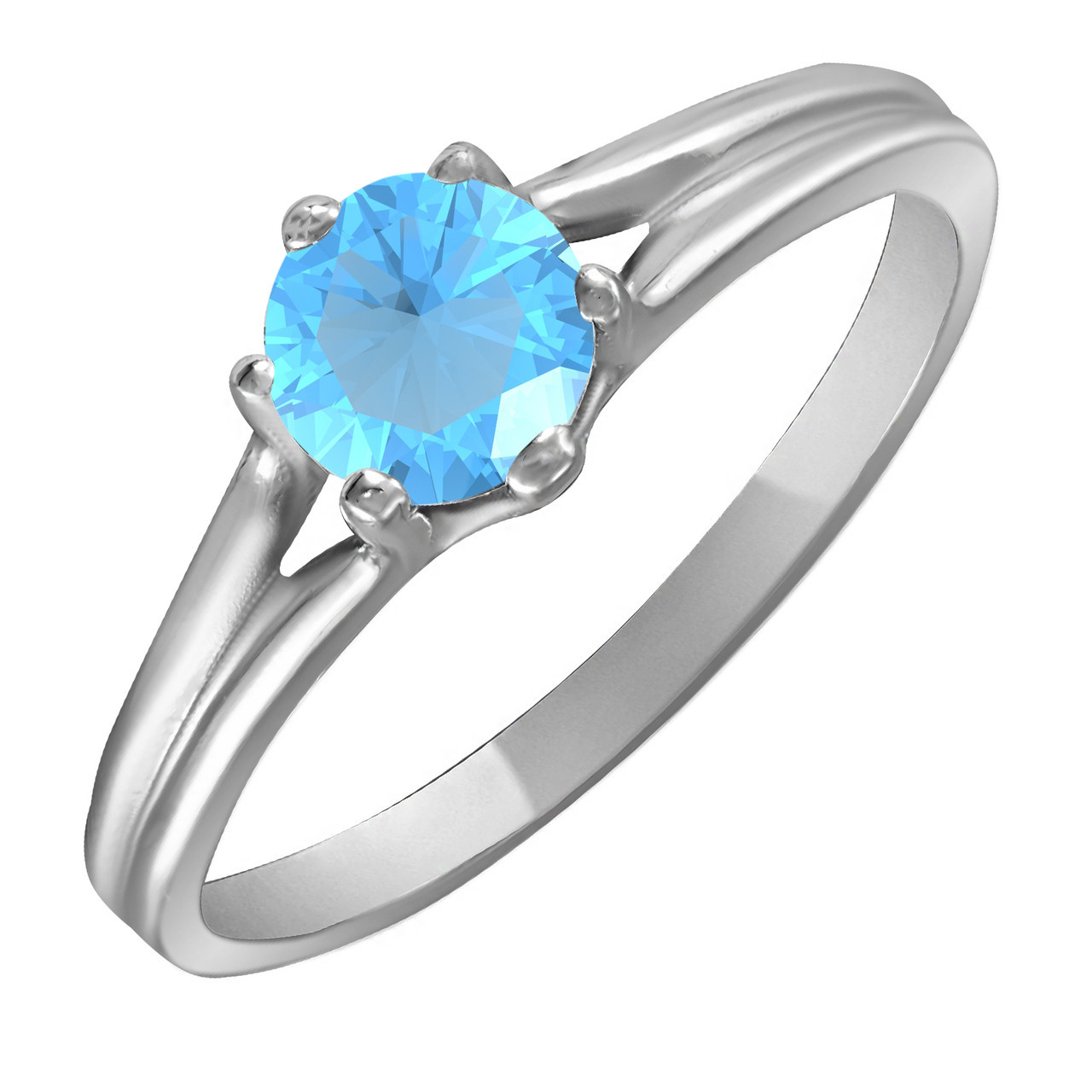 Кольцо из серебра с голубым кубическим цирконием Twiddle Jewelry 17.5 размер (К017г-17.5)