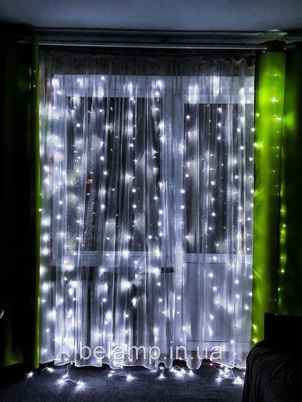 Новорічна гірлянда штора 3 м. на 3 м на вікно «Білосніжна»
