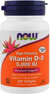 Now Foods, высокоактивный витамин D-3, 5000 МЕ, 240 мягких таблеток