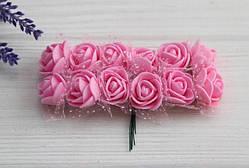 Розы 2,0 см с фатином , розовые      144 шт