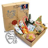 Подарунок від Діда Мороза великий, від Святого Миколая, коробка з сюрпризом, друку сургучна і пошти, марка, бик